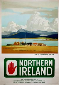 Newcastle Mourne Mountains Slieve Donard Northern Ireland Little Farm by the Sea Travel Poster Print